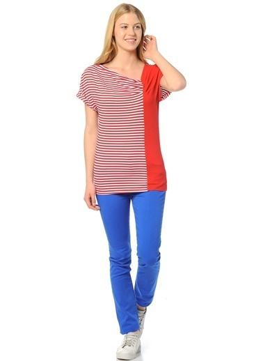 Limon Company Çizgi Desenli Kadın Tshirt Kırmızı